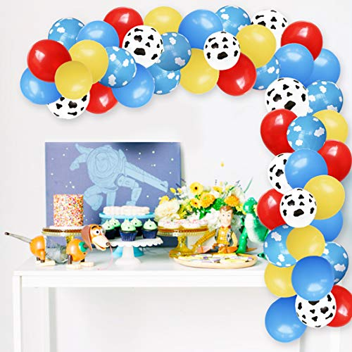 Cloud Balloons Garland Arch Kit for Airplane Birthday Party Baby Shower with Cloud Cow Print Latex Balloons