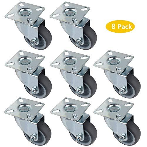 Roulettes en caoutchouc gris anti-traces 4-75mm 2 roulettes fixes et 2 pivotan