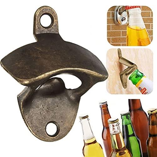Fmaoltkk Abridor de botellas de cocina de hierro fundido Abrelatas de montaje en pared para vino, cerveza de soda, abrebotellas de vidrio para el hogar o al aire libre Bar (negro)