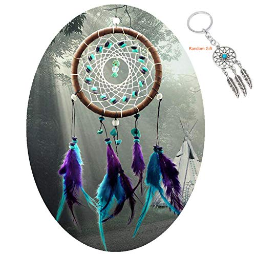 AWAYTR Forest Dreamcatcher Gift Handmade Dream Catcher Net with Feathers Wall Hanging Decoration Ornament (Turquoise Stone Feather Dream Catcher)