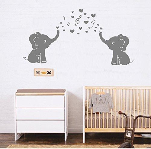 mafent (TM) Lovely elefante pared vinilo adhesivo de papel con corazones y música símbolos para pared pegatinas para bebé decoración de la habitación de los niños o color: gris