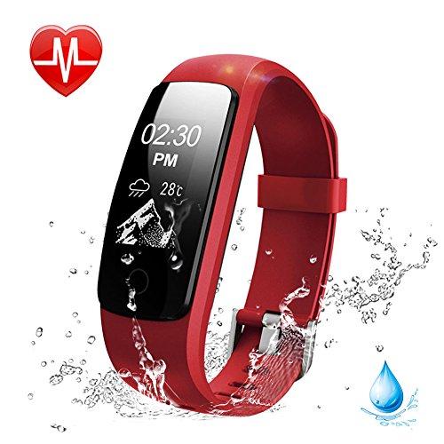 Lintelek Pulsera Inteligente, Monitor de Ritmo cardíaco, sueño, GPS para Correr, Impermeable IP67, Cronómetro, Bluetooth 4.0, Rojo