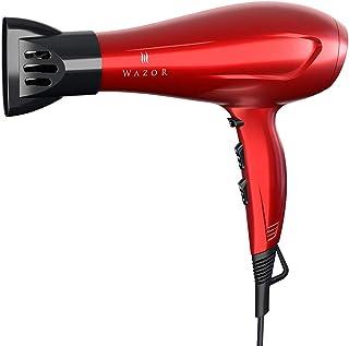 Secador de pelo iónico profesional 1875W, salón ligero con boquilla de fijación, potente secador de pelo de cerámica de secado rápido con concentrador, rojo