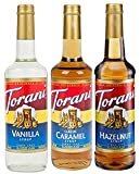 Torani Syrup Coffee Variety Pack - Vanilla, Caramel Classic, Hazelnut Classic, 3-count, 25.4-ounce Bottles for Coffee, Desserts and Smoothies