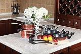 Kitchen Academy Premium Cookware - 15 Piece Interior Granite Pan Pot Set induction & Dishwasher Safe