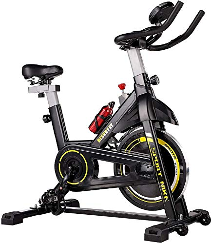 Grepatio Belt Drive Indoor Cycling Bike with Heavy Magnetic Resistance Flywheel, Stationary Bike LCD Display, Quiet for Home Cardio Workout Bike Training, Upgraded Version