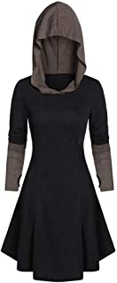 Fashion Womens Vintage Cloak Color Block Long Hooded Long Sleeve Retro Dress Tops