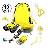 Bettying Kids Explorer Kit aventura Camping Kit & Bug Catcher Kit con cordón prismáticos y red de mariposa Pedagógico Juguete de exploración natural regalo