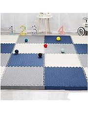 6 Stuks Puzzelmat Van Schuim Zachte Speeltoestellen Activiteitenmatten Voor Kinderen In Elkaar Grijpende Schuimvloer, Wit-Grijs-Donkerblauw GHHZZQ (Color : A, Size : 60 * 60 * 1.2CM)