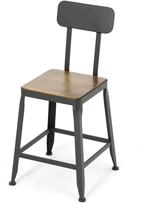 LJFYXZ Bar Stool Kitchen Breakfast Chair Wooden seat with backrest Bar Kitchen High Stool Metal Leg Bearing Weight 150kg Sitting Height 45 65 75cm (Size   45cm)
