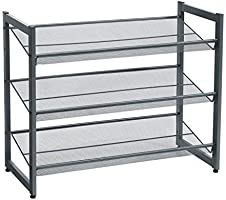 SONGMICS 3-Tier Shoe Rack Storage, Steel Mesh, Flat or Angled Stackable Shoe Shelf Stand for 9 to 12 Pairs of Shoes,...