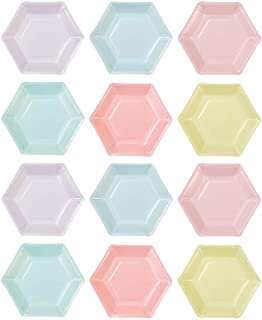 Talking Tables PASTEL-PLATE-HEX Plaques hexagonales, 12 pcs, 6 dessins, Mélamine, Multicolore, 21 x 21 x 21 cm