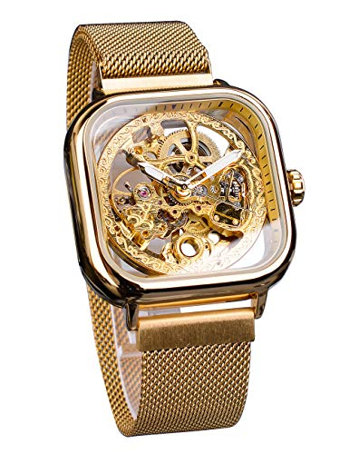 Forsining Fashion Automatic Mechanical Wrist Watch Golden for Mens Watches with Stainless Steel Skeleton Transparent Dial with Royal Flower Movement Carving