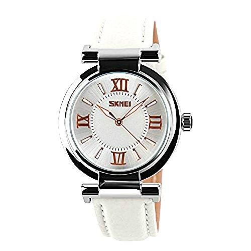 Skmei - Reloj de pulsera de cuarzo para mujer, analógico, con pantalla de piel