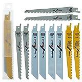 10 hojas de sierra alternativas de madera para sierra de sable para corte de metal y madera con clavos con organizador