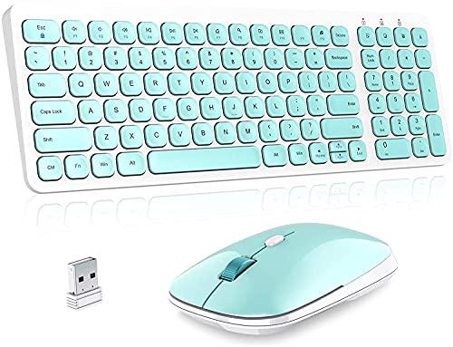Juplay Teclado inalámbrico de 2,4 GHz con teclado numérico de tamaño completo, diseño para ordenador portátil, escritorio, tableta, Windows iOS y Android (azul)