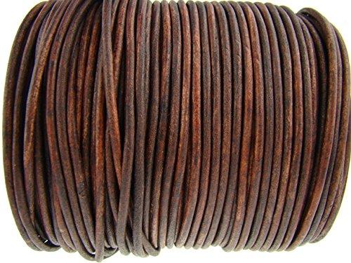 esnado Cordino rotondo in cuoio, 3 mm, colore: marrone anticato, lunghezza a scelta 10 metri marrone antico