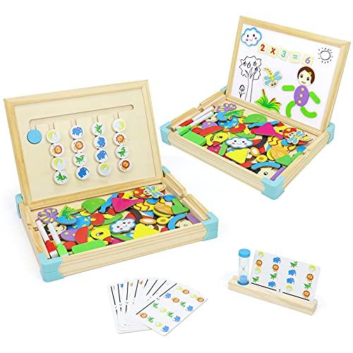 Juego de Lógica Puzzle de Madera Juguetes Montessori Magnetico Infantiles Tablero De Dibujo Juegos de Mesa Juego de Animales Clasificación Lógica Rompecabezas Juegos Educativos Niños Niñas 3 4 5 Años