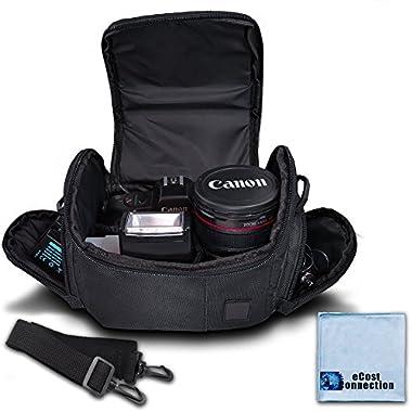 Medium Soft Padded Camera Equipment Bag / Case for Nikon, Canon, Sony, Pentax, Olympus Panasonic, Samsung & Many More + eCostConnection Microfiber Cloth