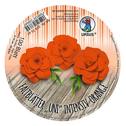 URSUS 3147541 Vouwbladen rond Uni intensief oranje, van gekleurd plakaat papier, 100 vellen 65 g/m2, diameter 12 cm, ideaal voor het vouwen van papieren bloemen en bloemen