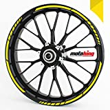 Felgenrandaufkleber GP im GP-Design passend für 17 Zoll und 16' 18' 19' Felgen für Motorrad, Auto & mehr - Gelb