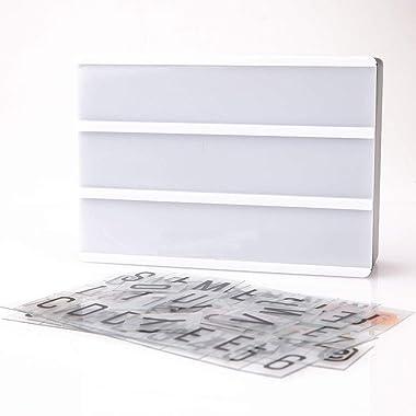 JWBOSS Light Box avec 90 Lettres et Chiffres de Remplacement Sign Lightbox, Boite enseigne Lumineuse Message/DIY Movie Light