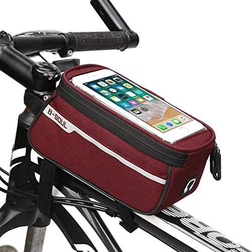 Takefuns Impermeable MTB Road Bicicletas tubo delantero bolsa 6 pulgadas pantalla táctil silla teléfono móvil bolsa con auriculares agujero Ciclismo Accesorios