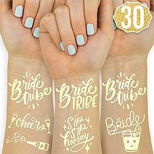 xo, Fetti 30 Bride Tribe Metallic Tattoos   Bachelorette Party Decorations, Bridesmaid Favor + Bride To Be from xo, Fetti