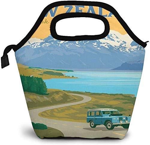 Bolsa isotérmica de viaje World Vintage de Nueva Zelanda Mount Cook, para almuerzo, personalizada, para picnic, portátil, para mujeres, niñas, hombres y niños