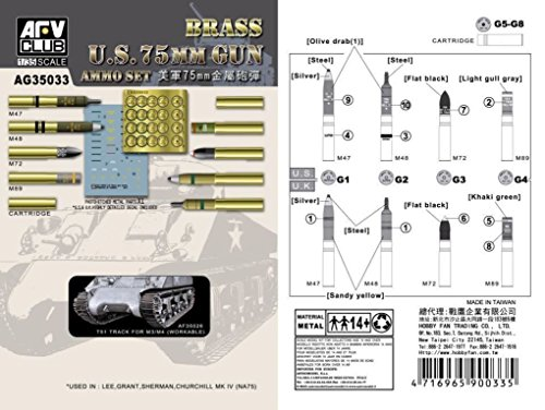 AFV Club 1:35 - 75mm gun ammo set (brass) - AFVAG3533