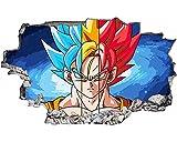 pegatina de pared Dragon Ball Tatuajes de pared Tatuajes de pared Súper Saiyan Goku Vinilos de pared Anime arte de pared, etiqueta para la decoración de la habitación de los niños 90X60CM-B_80*120CM