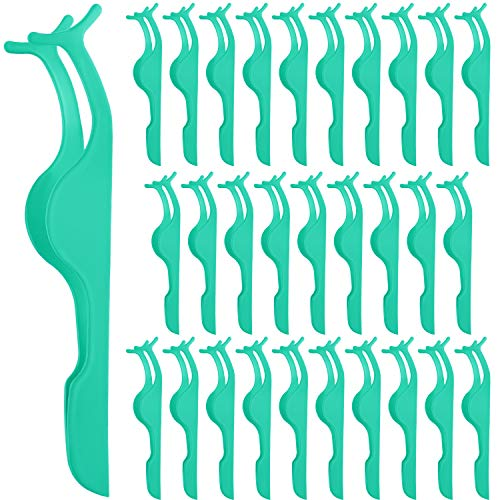 Elcoho 30 Pieces False Eyelashes Applicator Tool Stainless Steel Eyelash Extension Tweezers Remover Clip Tweezers Nipper with Plastic Round Box for Women Eyelash Application and Removal (Mint Green)