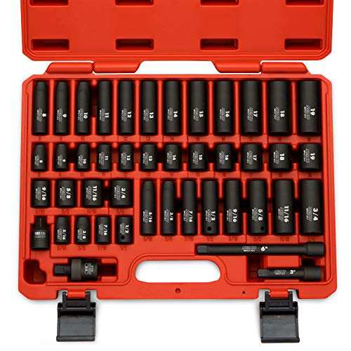 "Neiko 02440A 3/8"" Drive Impact Socket Set, 44 Piece Deep and Shallow Assortment 