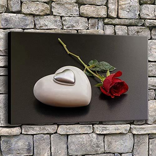 AQgyuh Puzzle 1000 Piezas Rosa roja Plata Amor corazón Piedra Blanca Pintura romántica en Juguetes y Juegos Juego de Habilidad para Toda la Familia, Colorido Juego de ubicación.50x75cm(20x30inch)