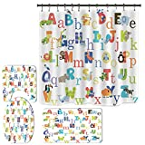 Alphabet Shower Curtain Set for Bathroom, ABC Educational Shower Curtain with Non-Slip Rugs and Bath Mats, Funny Animal Shower Curtain for Kids (H2)