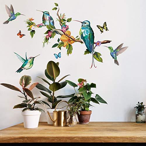 VASZOLA DIY Blume und Kolibri Aquarell Wandtattoo Wandaufkleber Pflanzen Grüne Pflanze Blätter Wandsticker Wanddeko für Wohnzimmer Schlafzimmer Flur Kühlschrank
