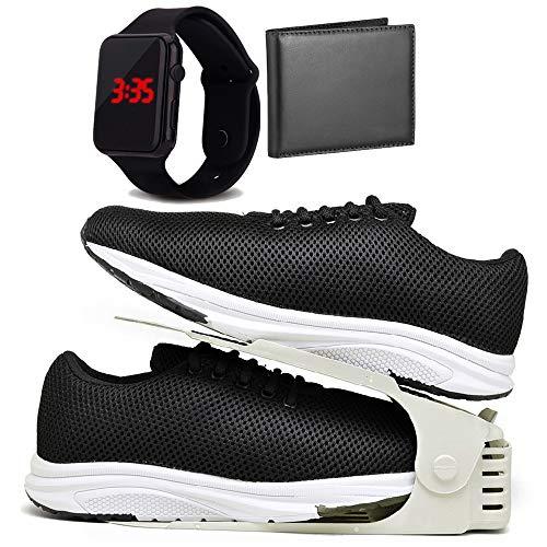 Kit Tênis Esportivo Caminhada Com Organizador, Carteira e Relógio LED Masculino DUBUY 1108DB Tamanho:42;cor:Preto;gênero
