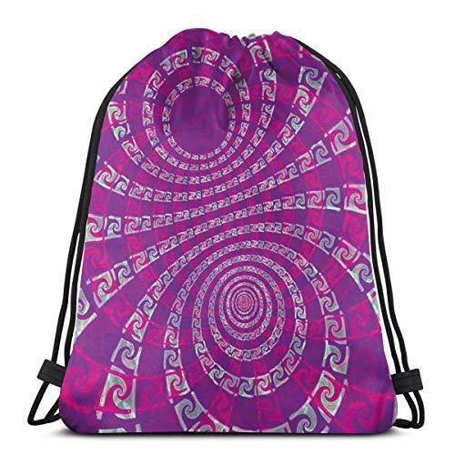 Jhonangel Fantisy Purple Spiral Drawstring Bags Gym Dance Sacs à Dos Sacs à bandoulière Sacs Cadeau pour Filles Fille Garçons Enfants Ados Femmes 36 x 43cm / 14.2 x 16.9 Pouces