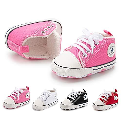 BiBeGoi Niemowlę niemowlę chłopcy dziewczęta płócienne trampki wysokie góry sznurowane łóżeczko obuwie na co dzień dla noworodka pierwszy chodzik buty do chodzenia, A01 różowy z polarem, 12-18 Miesiące