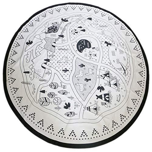 Tiamu Manta para bebé de enfermería con diseño de animales de la alfombra redonda para niños de gateo de 135 cm de diámetro, color blanco y negro