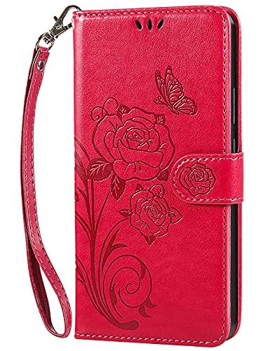 Vinanker Funda XiaomiRedmiNote9Pro, Funda de Cuero Redmi Note9S Libro Cartera Carcasa para XiaomiRedmiNote9Pro/Redmi Note9S (Rojo)