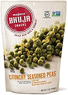 Majans Bhuja Gluten Free Snack Mix, Non-GMO | No Preservatives | Vegetarian Friendly | No Artificial Colors or Flavors, Crunchy Seasoned Peas, 7 Ounce (Pack of 6)