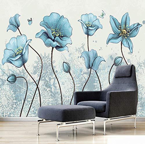 Fotobehang Slaapkamer Abstract Blauw Bloem, 150X100Cm Grote Poster Woonkamer Slaapkamer Tv Achtergrond Wanddecoratie 350x250cm