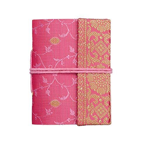 Carnet de notes/calepin en sari - commerce équitable - mini 80 x 105 mm rose