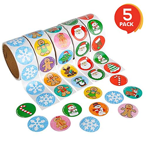 ArtCreativity Holiday Roll Stickers Assortment - 500 Christmas Themed Stickers - Great Christmas Party Favors, Goodie Bag Fillers, Holiday Decorations for Boys and Girls Ages 3+