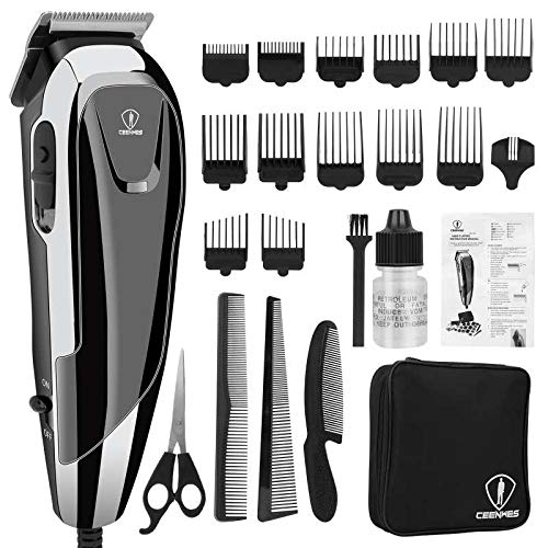Corded Hair Clippers Professional Hair Cutting Kit 24 Pieces Accessories Hair Trimmer with 14 Guide Combs,3 Hair combs,1 Scissor,1 Storage case,1 Barber Cape