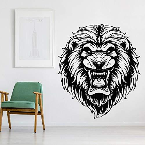 HGFDHG Calcomanía de Vinilo para Pared, Cabeza de león Radical, Rey Africano, depredador, Pegatina de Pared, decoración del hogar, Sala de Estar