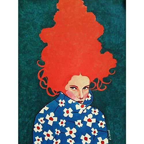 YB abstracte bloemen meisjes haar muurkunst canvas schilderij vogel Nordic poster kunstdruk wandafbeeldingen voor woonkamer vintage geen lijstje-U 40X50 cm