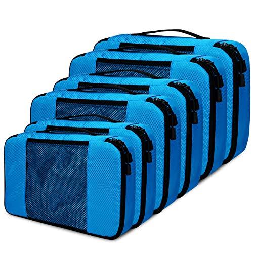 Kleidertaschen Koffer Organizer Set, Netspower 6er Kofferorganizer Reisetaschen Packtaschen Wasserdicht Reisegepäck für Koffer Rucksack Reise Schuhe Kleidung Kosmetik Bra - Blau
