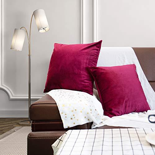 Mangsen Juego de 2 fundas de cojín de 45 x 45 cm, decorativas de terciopelo, cojín lumbar, con cremallera oculta, para sofá o dormitorio (fucsia)